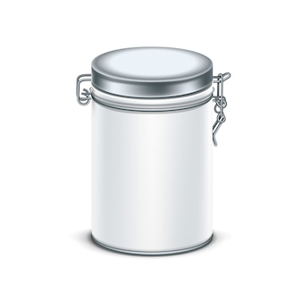 White tin box packaging container for tea or coffee