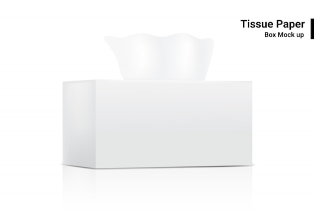 White tissue box mock up realistic product  packaging on white background vector illustration