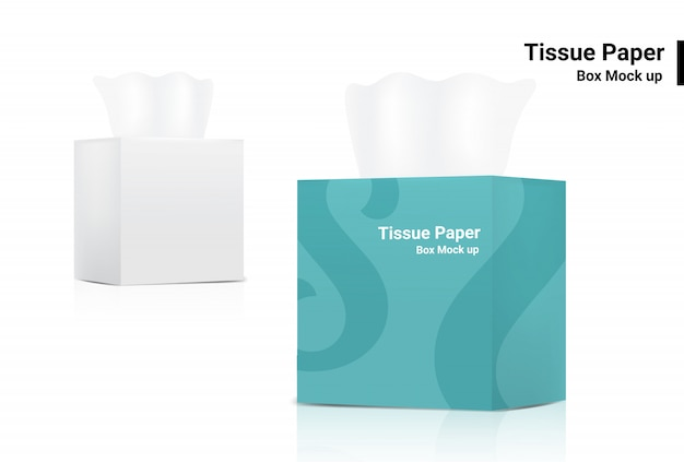White tissue box mock up realistic product  packaging on white background