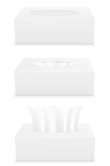 White tissue box set vector illustration