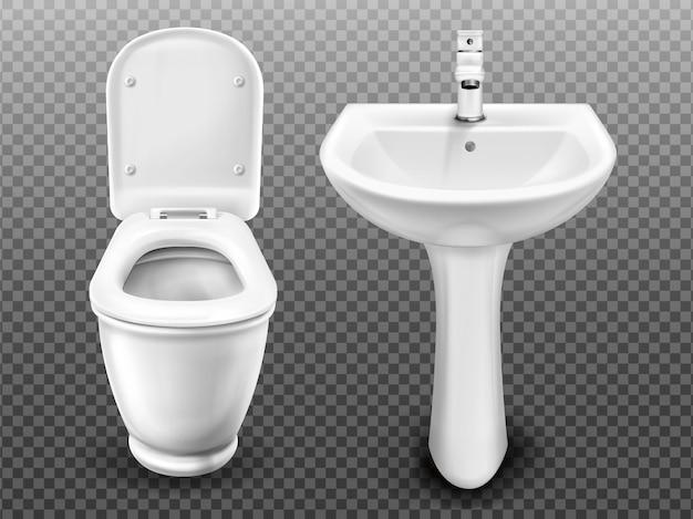 욕실, 현대 화장실 또는 화장실 용 흰색 변기 및 싱크대. 수세식 탱크 및 열린 좌석 뚜껑이있는 탭 및 화장실이있는 현실적인 세라믹 세면기 투명 배경에 고립