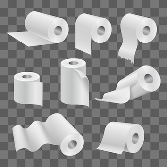 White toilet paper roll and kitchen towels isolated on transparent