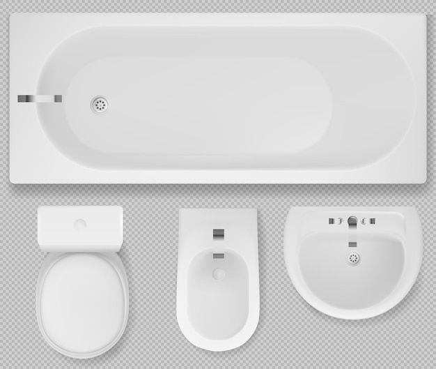 White toilet, tub sink and bidet top view