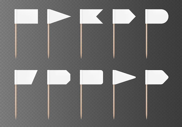 White toothpick flags isolated on a transparent background. blank flag on a wooden stick, set of mock-ups. vector party decorations collection.