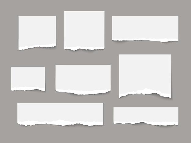 白い破れた紙は、柔らかい影で隔離の断片コレクションを引き裂く現実的なベクトル図