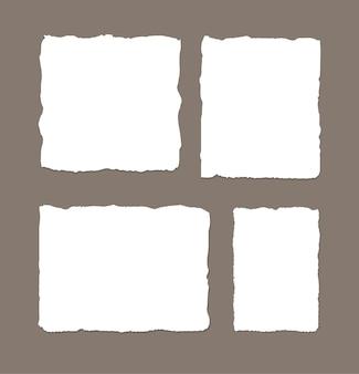 흰색 찢어진 된 줄무늬 종이 다른 스크랩 설정 메모장 노트