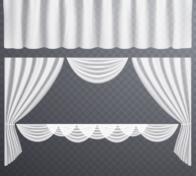 White transparent curtains open and closed