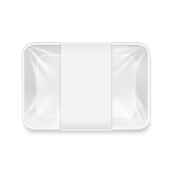White transparent empty disposable plastic food tray container mockup.
