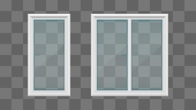 Белые прозрачные стеклянные окна
