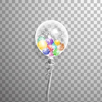 分離内部の風船と白い透明なヘリウムバルーン。イベントデザインのフロストパーティーバルーン。誕生日、記念日、お祝いのパーティーの装飾。透明バルーンを輝かせます。
