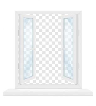 Белое прозрачное пластиковое окно с подоконником