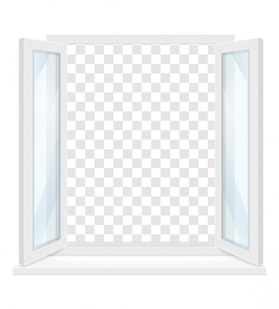 White transparent plastic window with window sill