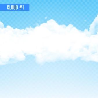 白い透明な煙または雲のデザイン。透明な背景に煙の効果。天気と空のためのリアルな雲。
