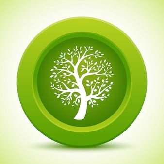 White tree silhouette on green rounded button