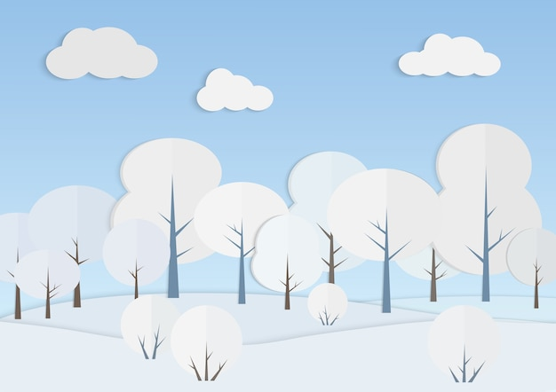 White trees in winter forest  . snowy landscape under blue sky paper art. nature view in cold day. new year and christmas card design. seasonal scenery background