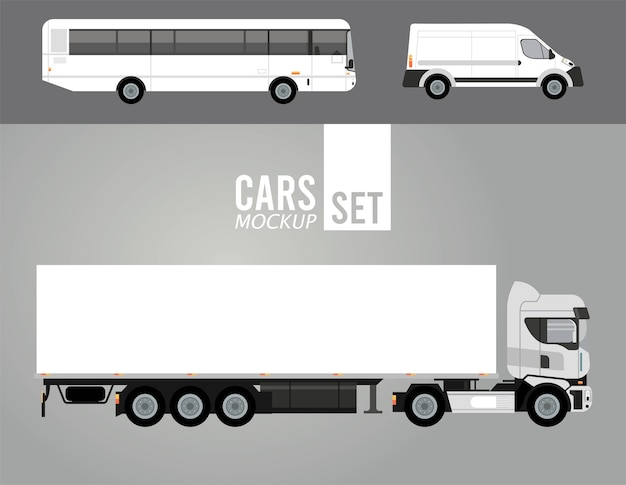 White truck and bus with mini van mockup cars vehicles