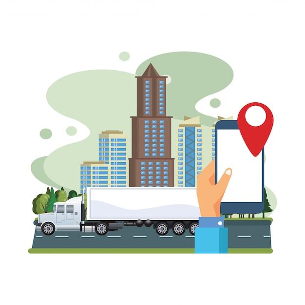 スマートフォンとgpsアプリケーションを搭載した白いトラック車