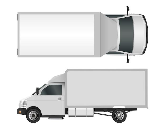 Шаблон белый грузовик. грузовой фургон векторные иллюстрации eps 10, изолированные на белом фоне. городская служба доставки коммерческих автомобилей