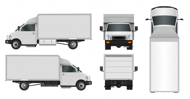 White truck template, сity commercial car delivery service
