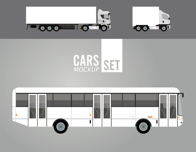 White trucks and bus mockup cars vehicles