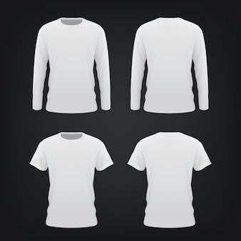 Белая футболка макет на черном фоне