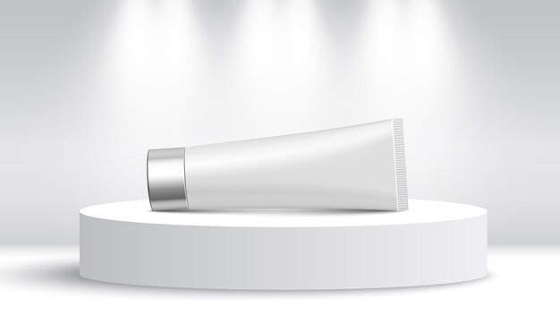 Белая трубка на выставочном стенде. круглый подиум. пьедестал.