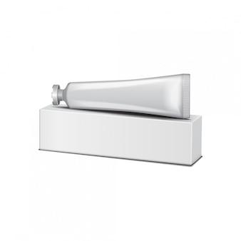 Белая тюбик на белой коробке - крем, гель, уход за кожей, зубная паста. готов для вашего дизайна. упаковочный шаблон.