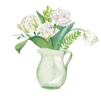 薄緑色の瓶に白いチューリップとシダの花束