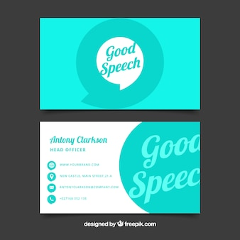 White and turquoise business card