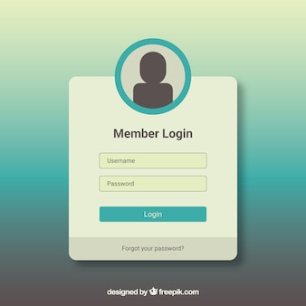 White and turquoise login form template