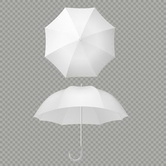 White umbrella and parasols realistic isolated on white.