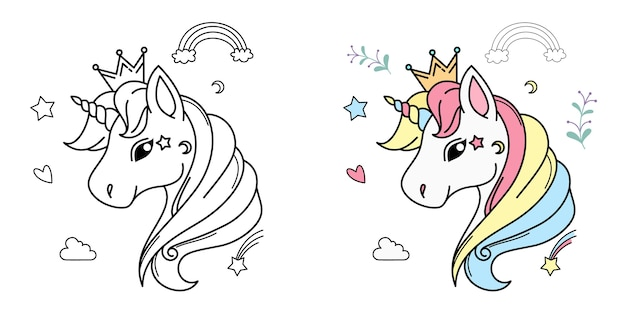 White unicorn head   for children design isolated.