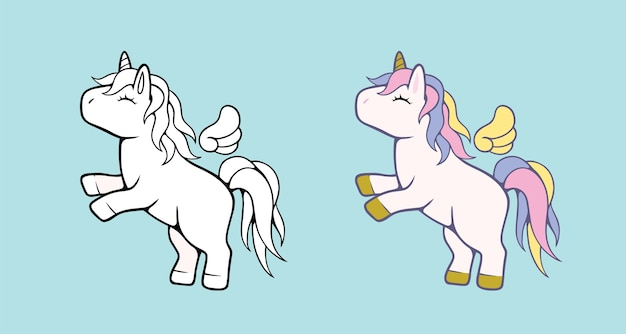 White unicorn illustration for children