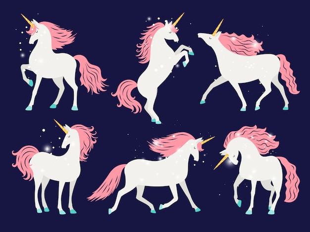 White unicorn with pink mane.