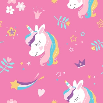 White unicorn with rainbow mane and magic horn seamless pattern on pink background with crowns