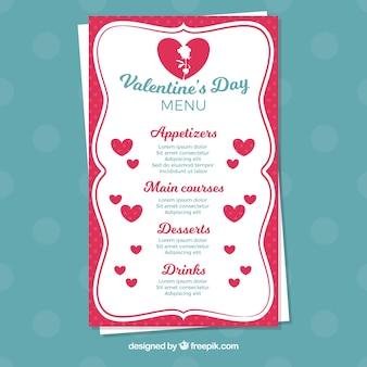 Шаблон меню из белого валентина с сердечками