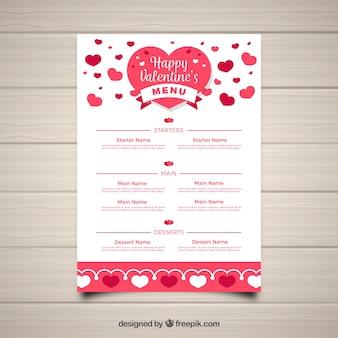 Шаблон меню white valentine