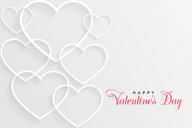 White valentines day card with line hearts