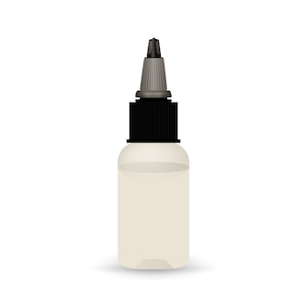 White vape bottle with liquid.