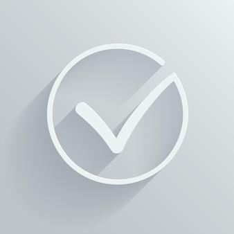 Белый векторный флажок или отметьте в круге концептуальные