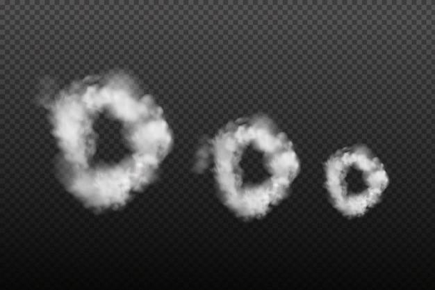 暗い市松模様の背景に白いベクトル曇り霧または煙