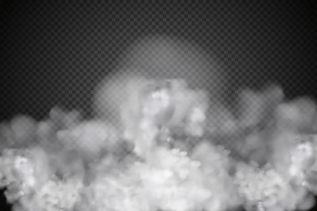 白いベクトル曇り、霧または暗い市松模様の煙。