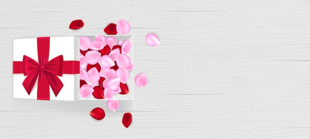 White vector gift box with rose petals, bows and ribbons on red. rose petals