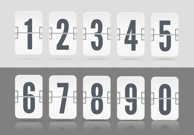 White vector numeric template for your design. set of flip scoreboard with reflections floating on different height including numbers and symbols for countdown timer on light and dark background.
