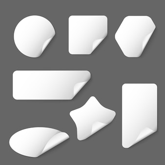 灰色の背景に白いベクトル紙ステッカー。白いステッカー、紙のステッカー、ラベルの形のステッカーのイラスト