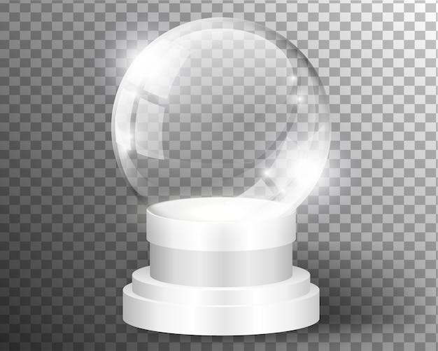 透明に分離された白いベクトルスノードームクリアテンプレート