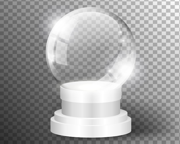 White vector snow globe clear template isolated on transparent