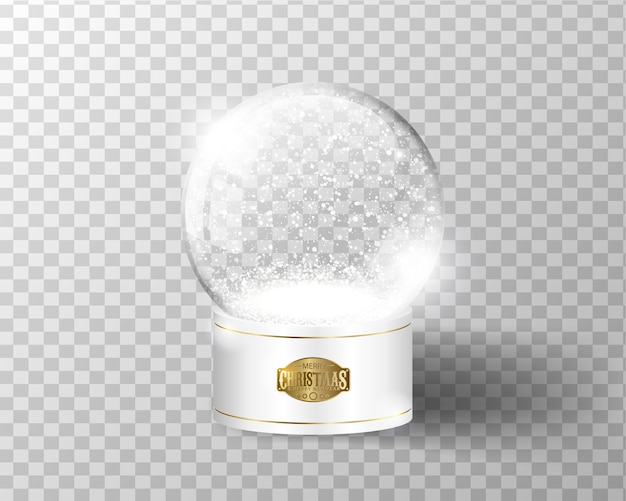 White vector snow globe empty template isolated on transparent