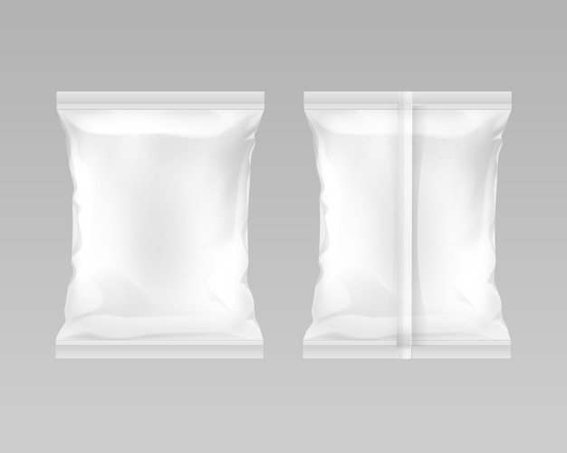 White vertical sealed empty plastic foil bag for package design