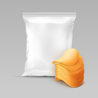 White vertical sealed foil plastic bag for package design with stack of potato crispy chips